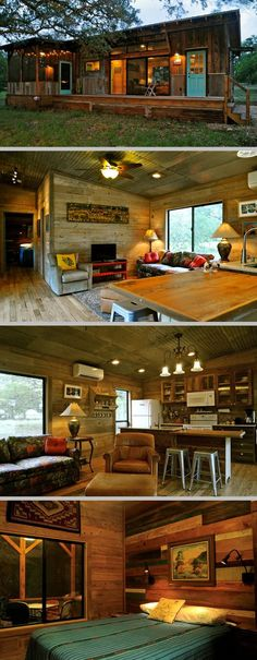 Built by Reclaimed Space from salvaged materials at their facility in Austin, TX; 640sf with one bdrm/one bath, plus a nice deck & screened porch. Small space = no clutter & fast cleaning! #cottage #cabin #tiny_home