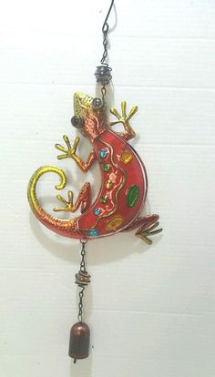 Hand Painted Red Lizard Windchime Whimsical Metal and Glass One Bell  #Unbranded