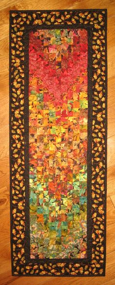 Autumn Fall Art Quilt, Fabric Wall Hanging, Fall Leaves Green Orange Red Brown, Fall Autumn Decor, Table Runner, Wallhanging, Abstract Art by TahoeQuilts on Etsy