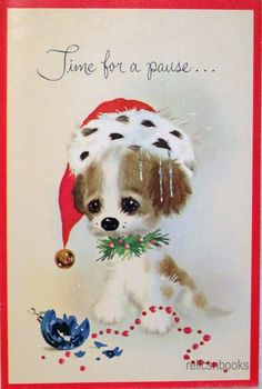 #790 60s Norcross Naughty Little Puppy Dog- Vintage Christmas Card-Greeting