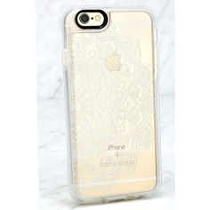Casetify White Lace Mandala Clear iPhone 6 and 6s Case ($40) ❤ liked on Polyvore featuring accessories, tech accessories and white