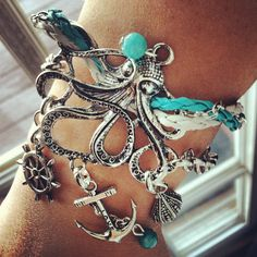 Large Octopus Layered Nautical Charm Bracelet by CeruleanLife, $15.00        can someone buy this for me?