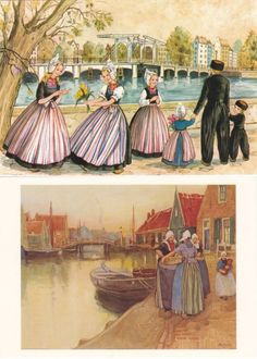 7 Vintage Dutch Costume Postcards  Volendam  by P8iosities on Etsy, €5.50