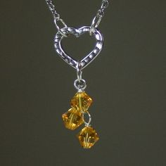 NOVEMBER BIRTHSTONE heart cascade necklace
