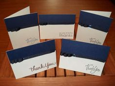 Masculine Thank You Cards - I would leave off the ribbon.
