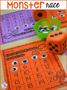 Halloween monster math race counting game! Plus my favorite Halloween activities and centers for preschool, pre-k, and kindergarten (art, math, writing, letters, blocks, STEM, sensory, fine motor). FREE printables... a mummy printable and witches brew counting recipe cards!