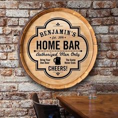Shop for personalized Home Bar barrel top sign. This visual artwork is made from authentic wine barrel and perfect man cave decor. Man Cave Diy, Man Cave Home Bar, Diy Home Bar, Bars For Home, Diy Bar, Home Bar Accessories, Ultimate Man Cave, Man Cave Basement, Pub Signs