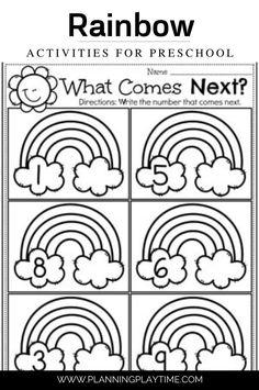 Number Order Activity for Preschool & Kindergarten. Preschool Math Games, Preschool Weather, Rainbow Activities, Preschool Colors, Preschool Centers, Kids Learning Activities, Preschool Worksheets, Educational Activities, Learning Letters