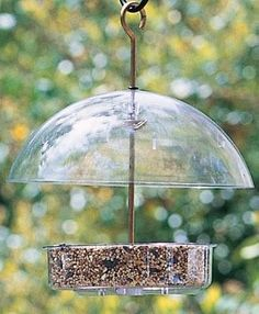"""Seed Saver Bird Feeder - Droll Yankee manufactures top quality feeders made from clear polycarbonate with brass, aluminum and stainless steel hardware.7"""" dish."""