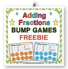 FREE Adding Fractions Bump Games contains 2 different bump games to help students practice adding fractions with like and unlike denominators. These bump games are so simple to use, and take a minimal amount of prep. Simply print out the game sheet, get 2 dice, and 20 counters, and you'll be ready to go! Check it out at www.games4gains.com.