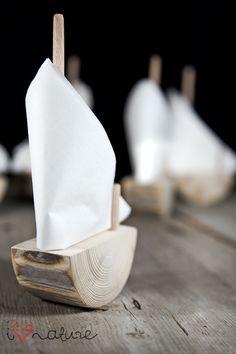 Łódeczka -serwetnik - i love nature, servietten, napkins, unique idea, rustic, wood, sailing, ship
