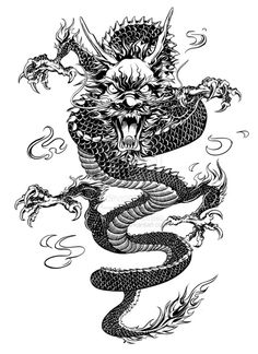 Chinese Dragon by on DeviantArt Tiger Tattoo Small, Small Dragon Tattoos, Dragon Tattoo For Women, Dragon Sleeve Tattoos, Japanese Dragon Tattoos, Dragon Tattoo Designs, Chinese Tattoos, Small Tattoos, Badass Tattoos