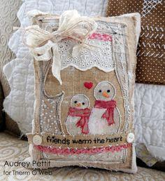 Snowman Pillow shabby chic
