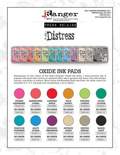 12 new distress oxide colors…  |  Tim Holtz | includes video showing colours