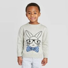 Toddler Boys' Crew Neck Bunny Pullover Sweater - Cat & Jack™ Heather Gray 5T : Target Boys Sweaters, Pullover Sweaters, Crewneck Sweater, Boys Closet, Polka Dot Bow Tie, Cat And Jack, Vintage Style Outfits, Toddler Boys, Dapper