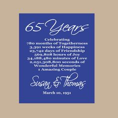 65th Wedding Anniversary Gift For Parents : 65th wedding anniversary Gift for Parents - 65 years Wedding ...