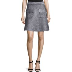 A.L.C. Aaron Metallic A-Line Skirt (19,680 PHP) ❤ liked on Polyvore featuring skirts, silver, knee length a line skirt, a.l.c., metallic skirt, pull on skirt and a line skirt