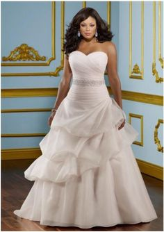 #Sashes A Line Sweetheart Chapel Train Organza Plus Size Wedding Dress