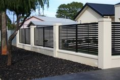 Modern Fencing - Modern - Home Fencing And Gates - Adelaide - by Hindmarsh Fencing & Wrought Iron Security Doors House Fence Design, Modern Fence Design, Gate Design, Modern Gates, Wrought Iron Security Doors, Wrought Iron Fences, Home Fencing, Garden Fencing, Tor Design
