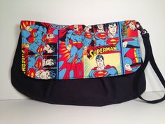Large Superman DC Comics Zippered Pleated Wristlet by TheZippyElf
