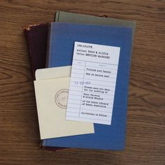 How to incorporate your love of reading into your wedding idea#2: vintage library card save the dates