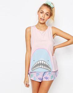 ASOS | ASOS Shark Head Short & Frill Vest Pyjama Set at ASOS