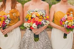 Bride is in the middle. Her dress is SO funky and cool. And her bridesmaids in mustard? What a winning color combo! Via Ruffled.