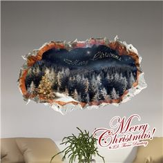 Creative Christmas 3D Christmas Eve's Sky Wall Sticker