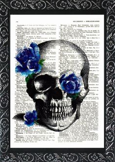 Antique skull victorian blue roses print