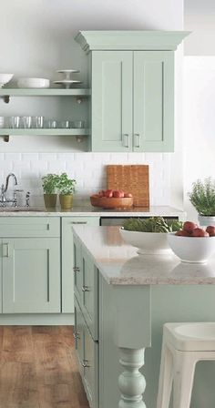 Uplifting Kitchen Remodeling Choosing Your New Kitchen Cabinets Ideas. Delightful Kitchen Remodeling Choosing Your New Kitchen Cabinets Ideas. Green Kitchen Cabinets, Farmhouse Kitchen Cabinets, Kitchen Cabinet Colors, Kitchen Paint, Farmhouse Kitchens, Kitchen Cabinetry, Kitchen Countertops, Beach Cottage Kitchens, Kitchen Colors
