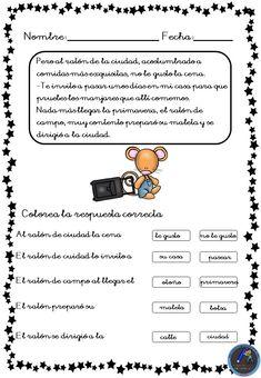 Fichas para trabajar la comprensión lectora - Imagenes Educativas Teaching Spanish, Teacher, How To Plan, Education, Learning, Planes, Teaching, Reading Comprehension, Bullet Journal