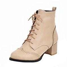 468261cbe5c5 YE Damen Chunky Heels Ankle Boots Stiefeletten High Heels mit Schnürung und  Blockabsatz 6cm Modern Bequem Schuhe  Amazon.de  Schuhe   Handtaschen