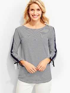 Tie Ruched-Sleeve Tee-Stripes - Talbots
