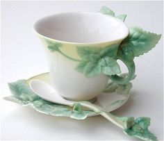 Mint Teacup and Saucer with Spoon