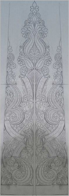 Drawing by --Talbi***Mohamad Border Embroidery Designs, Floral Embroidery Patterns, Hand Work Embroidery, Gold Embroidery, Textile Pattern Design, Textile Patterns, Zentangle, Indian Folk Art, Sketch Design