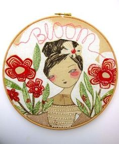 Bloom - Embroidery Hoop Art - Red and Green by jenna