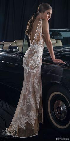 dany mizrachi Fall 2018 Braut sleeveless tiefes v nec k voller Verschönerung Doppelschlitzrock elegante reizvolle Scheide Hochzeitskleid v zurück Sweep Zug (7) bv