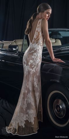dany mizrachi fall 2018 bridal sleeveless deep v neck full embellishment double slit skirt elegant sexy sheath wedding dress v back sweep train (7) bv -- Dany Mizrachi Fall 2018 Wedding Dress | Wedding Inspirasi #wedding #weddings #bridal #weddingdress #bride ~