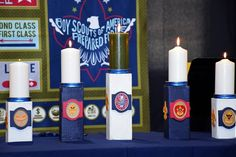 Made these for Daniel's Eagle Scout Court of Honor. Girl Scout Swap, Girl Scout Leader, Eagle Scout Ceremony, Brownie Girl Scouts, Girl Scout Crafts, Service Projects, Crafts For Girls, Cub Scouts, Pillar Candles