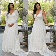 With sleeves or sleeveless this plus size lace wedding gown is the most breathtaking flattering timeless gown for a curvy bride. Seline from Studio Levana is available in US, Ireland, UK, Germany, Australia and Israel. You should try it on!