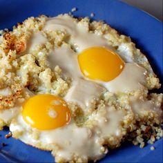 Popped Quinoa and Cheesy Eggs