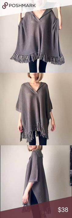 Knitted collar poncho with tassel fringes Knitted poncho with collar. Tassel fringes. Japan Jackets & Coats Capes