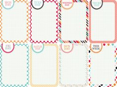 days of the week free printables