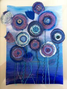 Blue anemones - mixed media by Christine Pettet Art Visit www.facebook.com/christinepettetart Fiber Art Quilts, Textile Fiber Art, Fabric Cards, Fabric Postcards, Flower Art, Flower Crafts, Felt Art, Fabric Flowers, Altered Art
