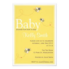 cute bumble bee baby shower invitations