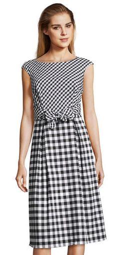 Adrianna Papell | Cap Sleeve Gingham Midi Dress with Bow Tie Waist