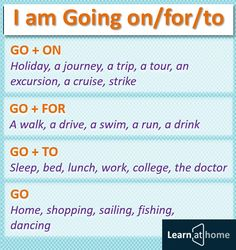 I am Going on/for/to - Я собираюсь куда-то #english #vocabulary #английский English Vinglish, English Course, English Tips, English Study, English Class, English Words, English Lessons, Learn English Grammar, English Language Learning