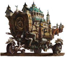 Medieval vehicles of steampunk, hee uk Jung on ArtStation at https://www.artstation.com/artwork/KPYYB