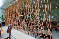 Discover thousands of images about rope-divider-wall-art. Cafe Design, House Design, Interior Design, Room Deviders, Partition Design, Office Interiors, Restaurant Design, Architecture Details, Decoration