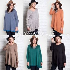 327a1cde791 New UMGEE Sweater Knit Long Legging Trapeze Tunic Top Sheer Trim Hem Plus  Size  Umgee